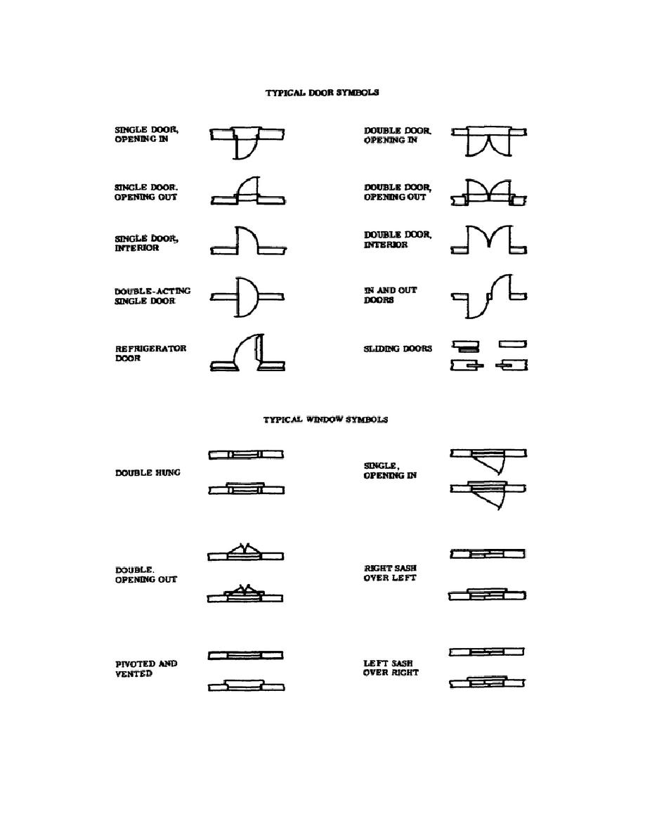 figure 1 6 typical door and window symbols