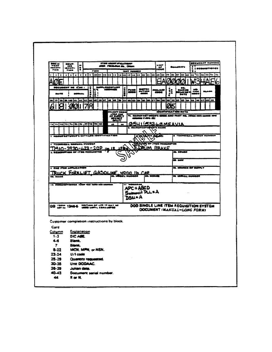Figure 35. DD Form 1348-6 ( DOD Single Line Item Requisition ...