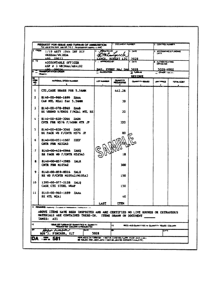 Figure 38. DA Form 581 (Request for Issue and Turn-in of Ammunition)