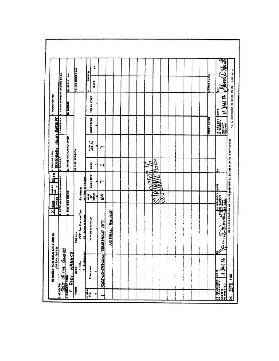 Figure 46. DA Form 3161 Prepared as Temporary Hand Receipt